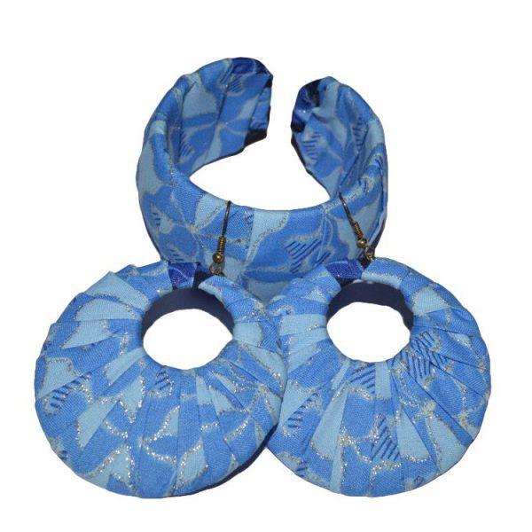 Blue Ankara Earring and bangle