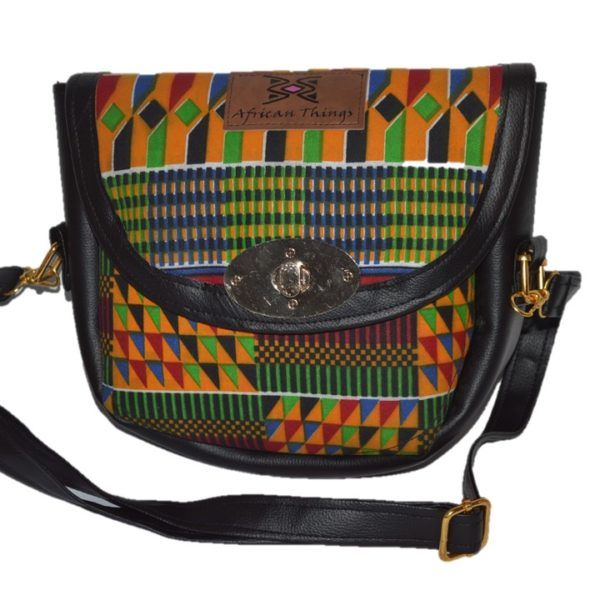 African Things Leather and Kente Amar Crossbody bag Front view