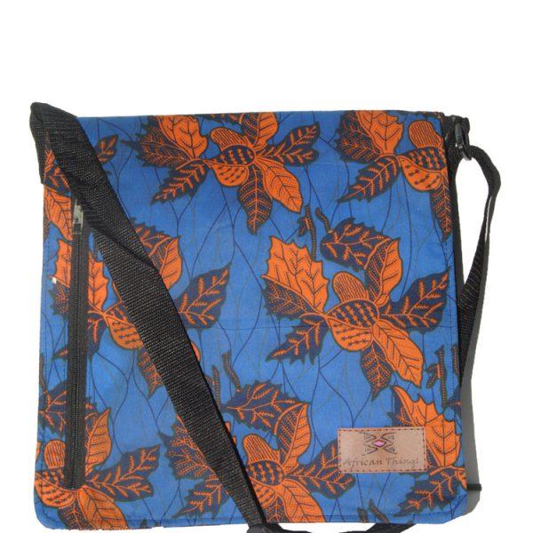 Blue Orange Leaves Ankara Messenger bag