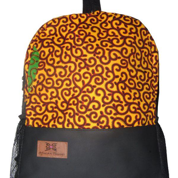 Yellow Spiral Ankara Half N Half Backpack