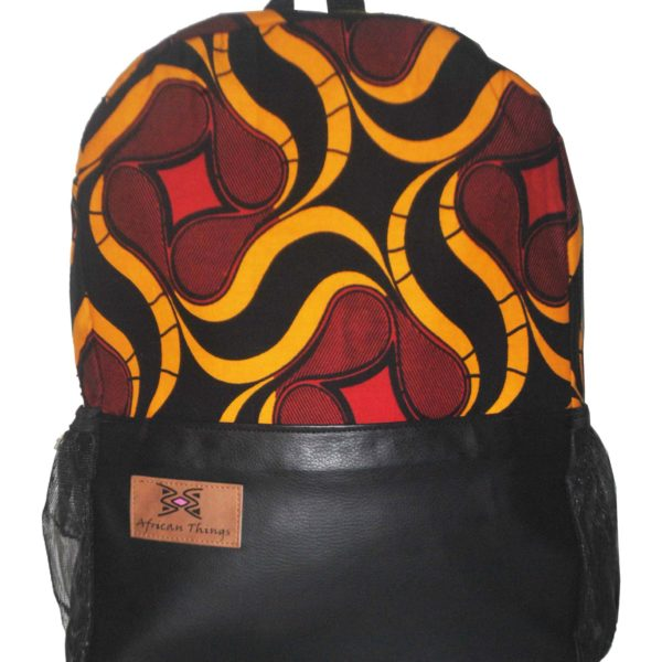 Red Ankara and leather Half N Half Backpack Side view
