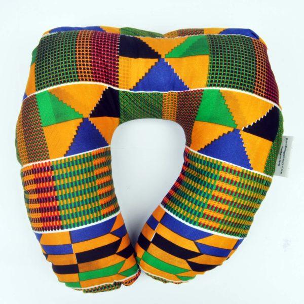 African Things Orange Kente Neck Pillow