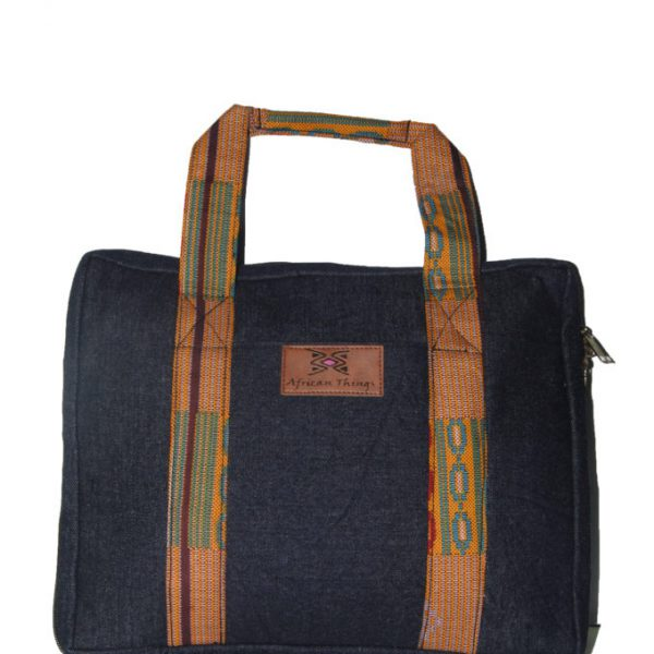 Brown Ankara and Jeans Laptop case