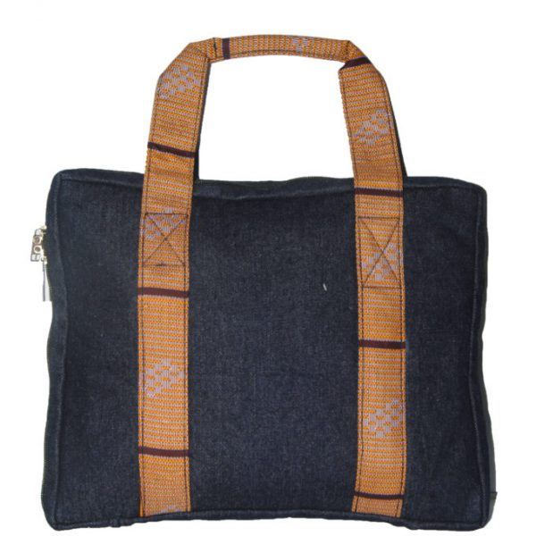 Brown Ankara and Jeans Laptop case Back View