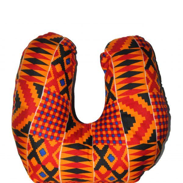 Orange Kente Neck Pillow