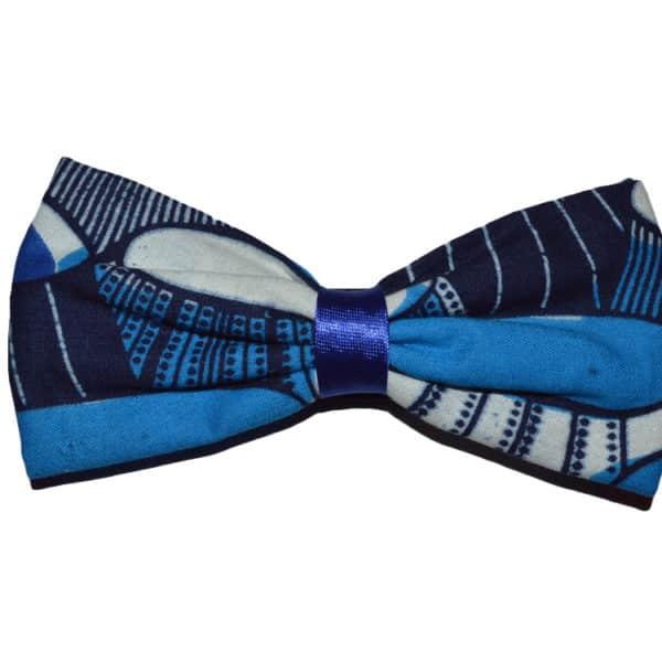 Blue Ankara Bow tie Front view