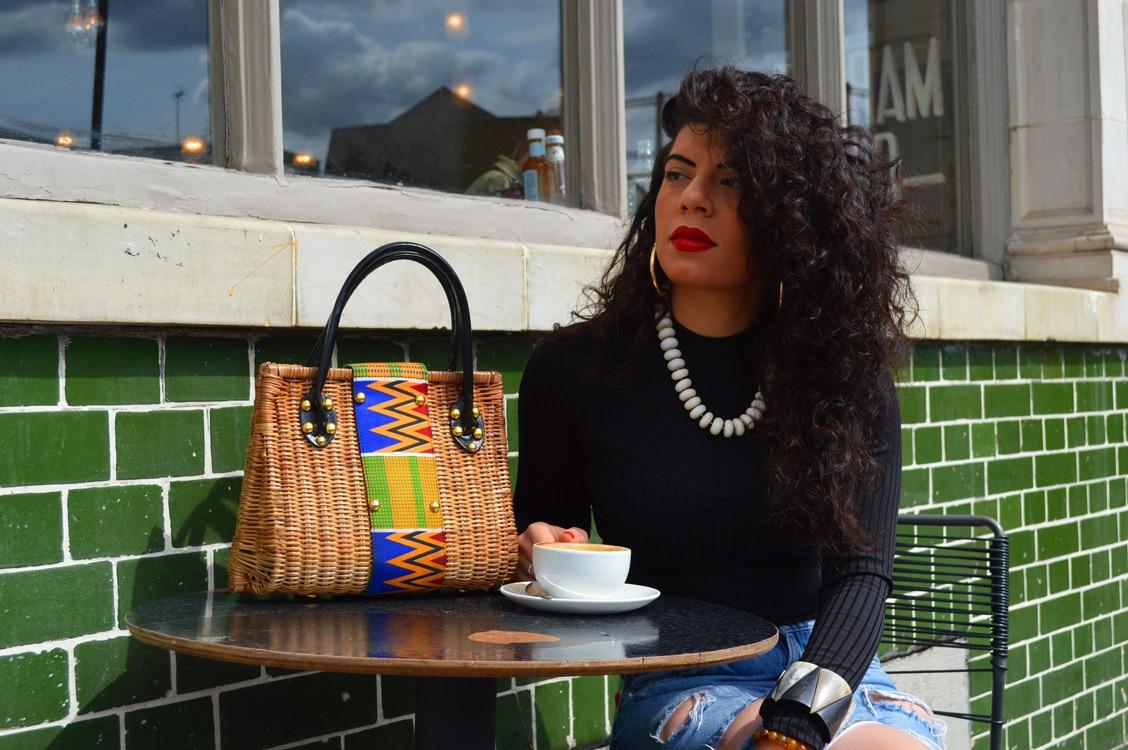 African Things Kiki Kente Cane hand bag