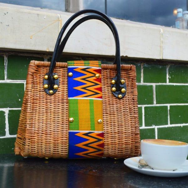 African Things Kiki Kente Cane handbag