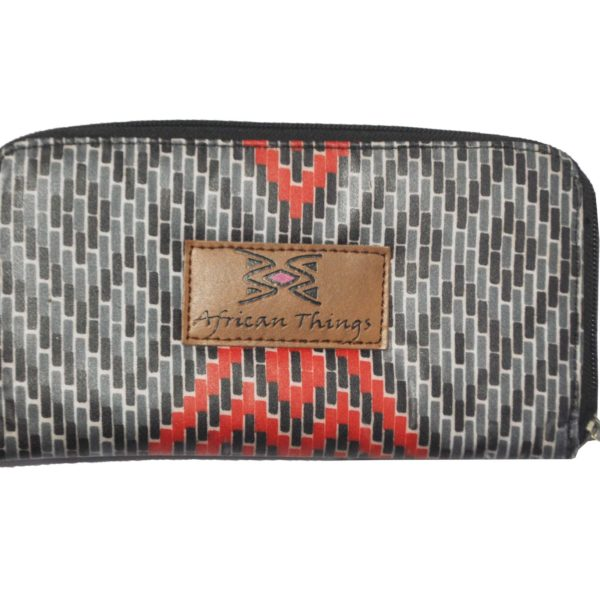 African Things Grey and Red Ankara Wallet