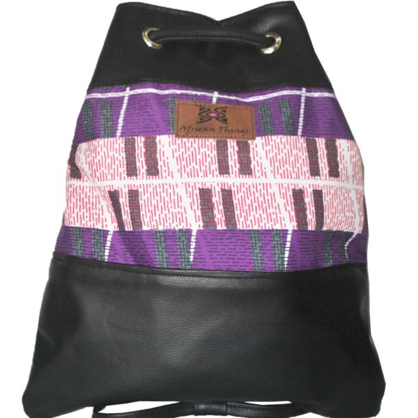 African Things Purple Ere Leather Backpack Front view