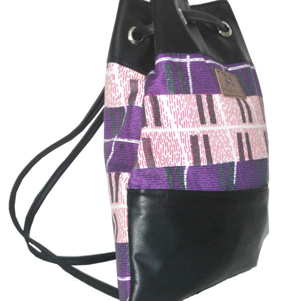 African Things Purple Ere Leather Backpack Side view