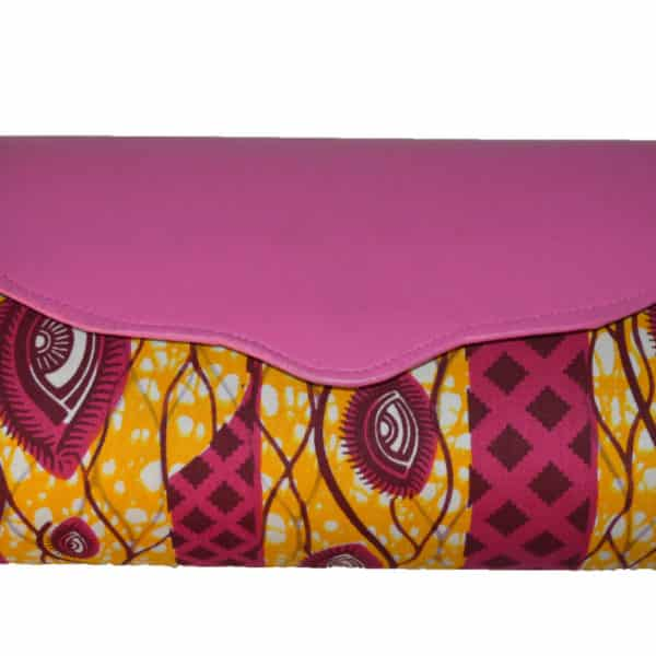 Pink Leather and Ankara clutch bag