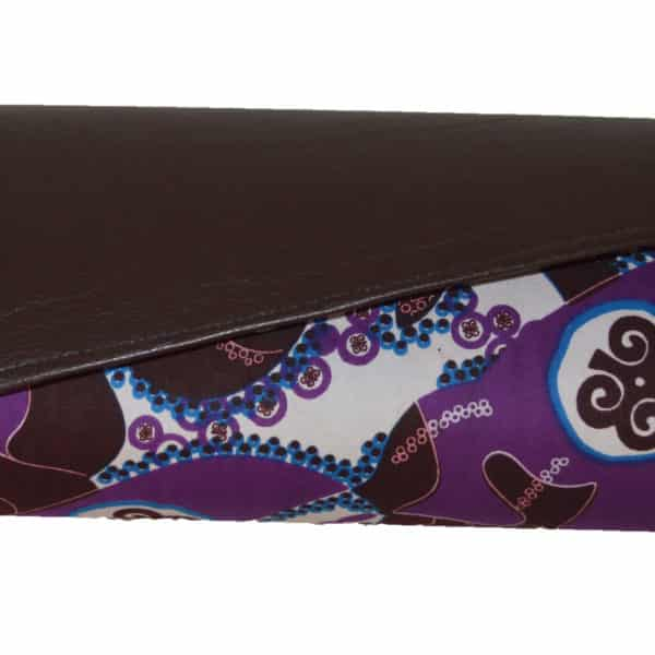 Brown Leather and Purple Ankara clutch bag