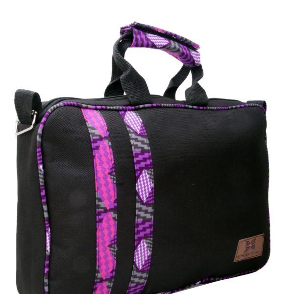 African Things Purple Ankara laptop bag front view
