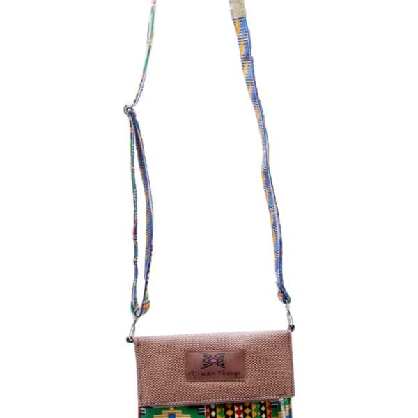 African Things Brown leather and Kente side bag front view