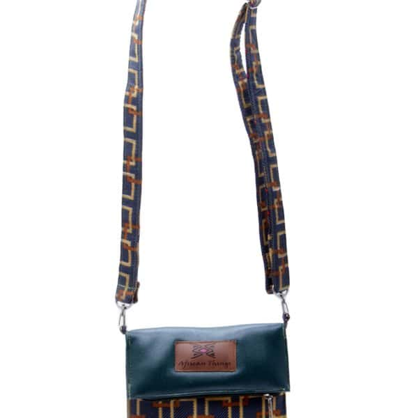 African Things Ankara Green side bag front view