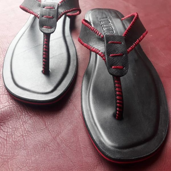 Red Black Leather Slippers