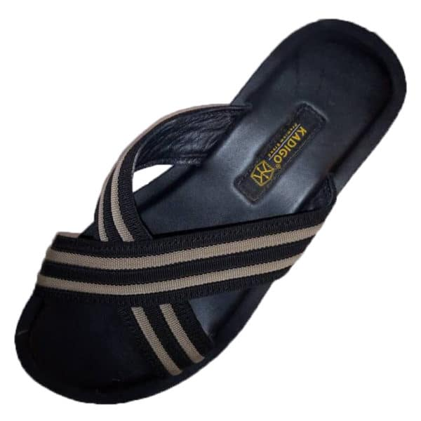 Black Leather and canvas cross slippers