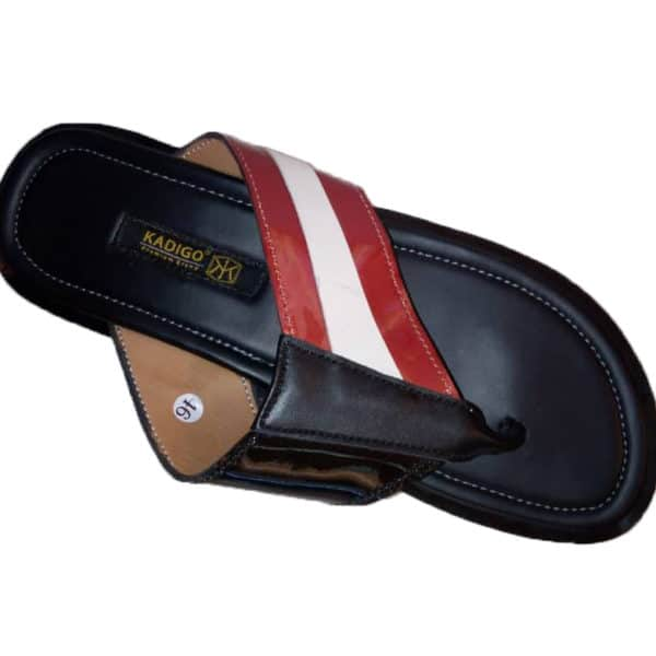 Leather slippers with red and white strips