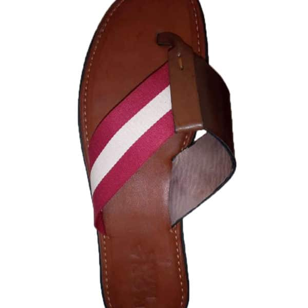 Leather slippers with red and white strip