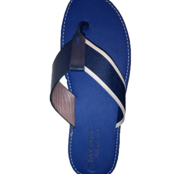 Blue leather slippers