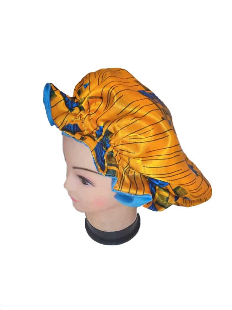 Ankara satin hair bonnet side