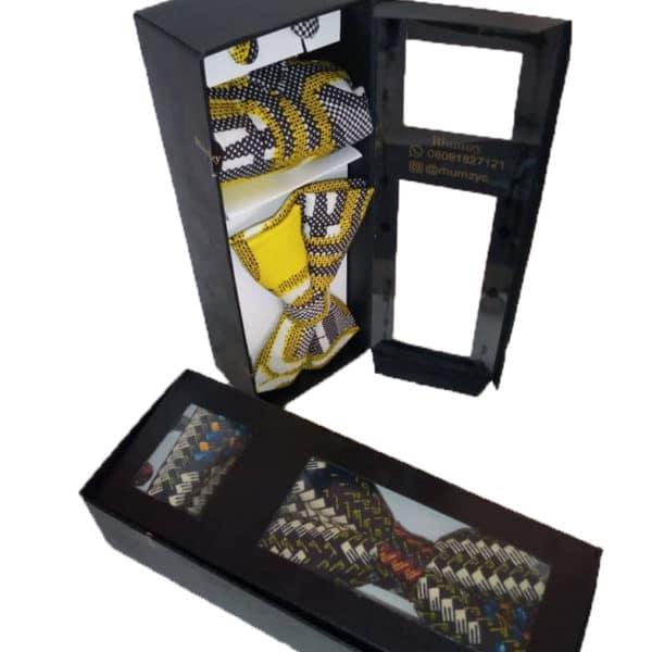 Ankara bow tie, pocket square and cufflinks
