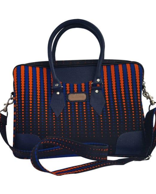 Ankara leather laptop bag