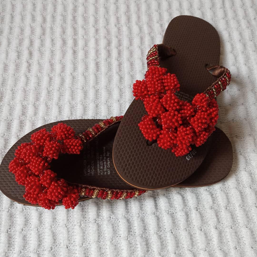 Bead flip flops slippers