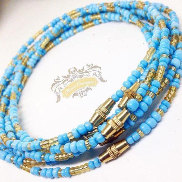 Blue and gold African waist beads elekedi