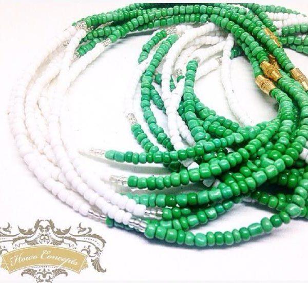 Green and white African waist beads elekedi