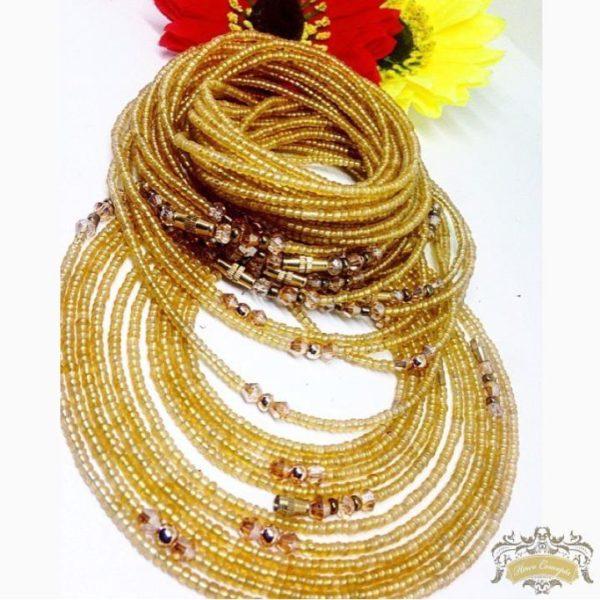 Yellow African waist beads elekedi