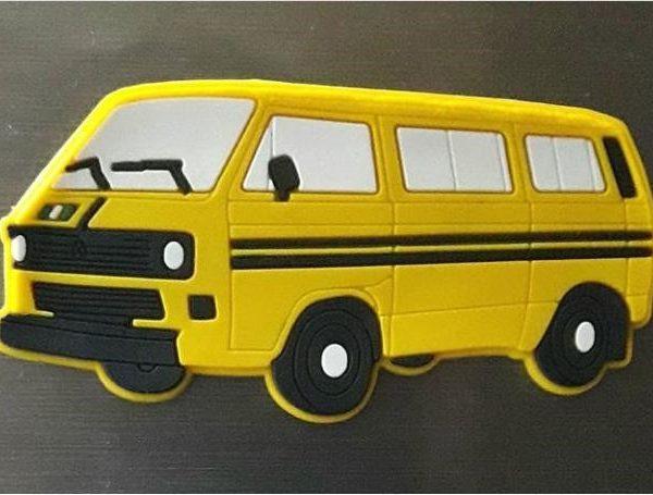Yellow danfo bus fridge magnet