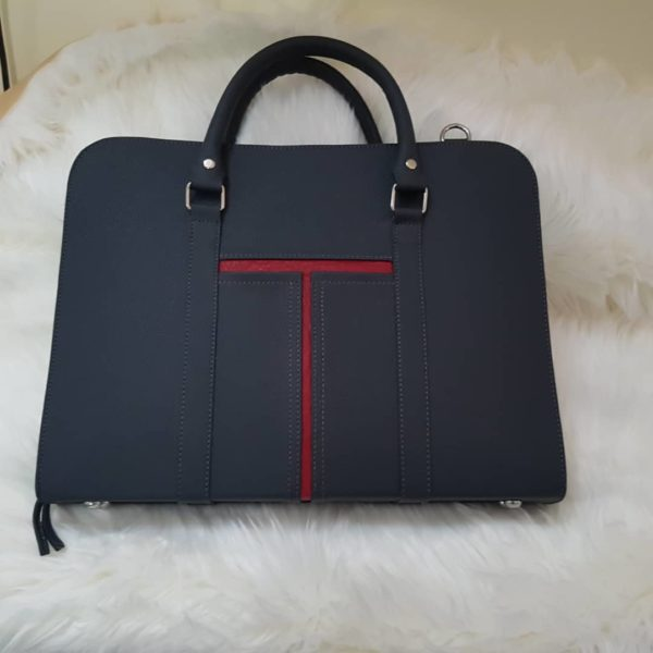 Grey and red strip leather laptop bag