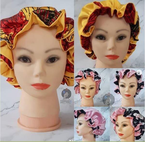 Satin Ankara reversible bonnet