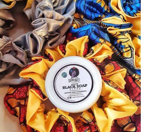Sapphire satin Ankara hair bonnet and black soap