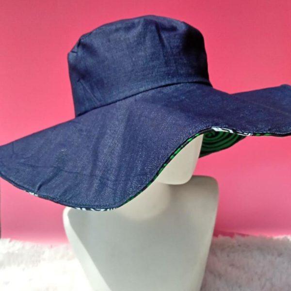 Jeans and ankara reversible summer hat