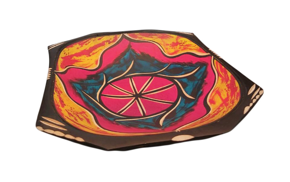 African painted wooden fruit bowl